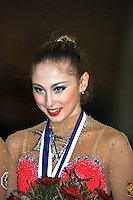 Daria Kondakova of Russia smiles during awards ceremony in Event Finals at Holon Grand Prix, Israel on March 5, 2011.  (Photo by Tom Theobald).