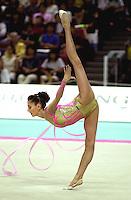 2 OCTOBER 1999 - OSAKA, JAPAN: Elena Vitrichenko of Ukraine performs with ribbon at the 1999 Rhythmic Gymnastics World Championships in Osaka, Japan.  Elena took 5th in the all-around.  Copyright 1999 by Tom Theobald