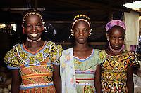 Tortiya, Ivory Coast, Cote d'Ivoire, Africa - Fulani Girls in Colorful Dresses.