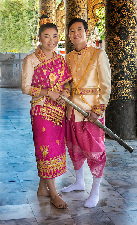 Lao Wedding Couple In Traditional Dress