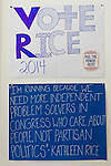 """Garden City South, New York, U.S. - August 11, 2014 - """"Vote Rice 2014 """" and """"I'm running because..."""" signs on wall of Kathleen Rice's Campaign Office, 14"""
