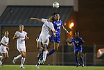 13 October 2011: North Carolina's Rebecca Crabb (77) and Duke's Kim DeCesare (19) challenge for a header. The University of North Carolina Tar Heels defeated the Duke University Blue Devils 1-0 at Fetzer Field in Chapel Hill, North Carolina in an NCAA Division I Women's Soccer game.