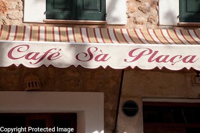 Sa Placa Cafe Sign in Fornalutx, Majorca, Spain