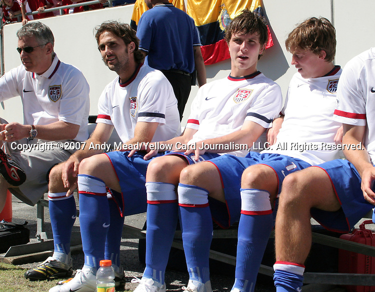 The United States' Brian Mullan (l), Michael Bradley (center) and Brian Carroll (r) start the game on the bench on Sunday, March 25th, 2007 at Raymond James Stadium in Tampa, Florida. The United States Men's National Team defeated Ecuador 3-1 in a men's international friendly.