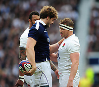 Richie Gray of Scotland keeps the ball away from Dylan Hartley of England. RBS Six Nations match between England and Scotland on March 11, 2017 at Twickenham Stadium in London, England. Photo by: Patrick Khachfe / Onside Images