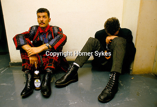 Paul Rutherford, Mark O'Toole,'Frankie Goes to Hollywood', British band.Back stage during a TV promotional tour in Germany.