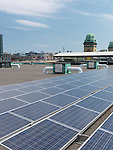 Solar panels on a roof of Direct Energy Center building in Toronto Canada