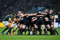 New Zealand hold onto possession at the back of a scrum. Rugby World Cup Semi Final between South Africa and New Zealand on October 24, 2015 at Twickenham Stadium in London, England. Photo by: Patrick Khachfe / Onside Images