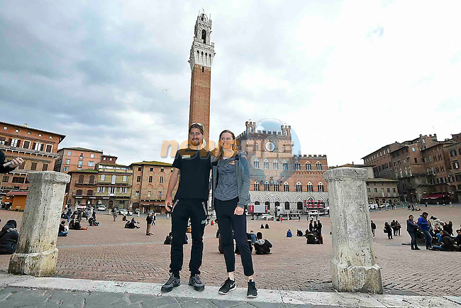 World Champions Peter Sagan (SVK) Bora-Hansgrohe and Amalie Dideriksen (DEN) Boels-Dolmans pictured before their press conference in Piazza del Campo, Siena, Tuscany, Italy 3rd March 2017.<br /> Picture: LaPresse/Gian Mattia D'Alberto   Newsfile<br /> <br /> <br /> All photos usage must carry mandatory copyright credit (&copy; Newsfile   LaPresse/Gian Mattia D'Alberto)