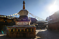 Stupa and prayer wheels in the Tibetan tourist town of Shangri-La (formerly Zhongdian) was renamed after the fictional location in James Hilton's 1933 novel, Lost Horizon. It is over 3000m above sea level on the Southern side of the Tibetan plateau.