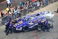 May 22, 2016; Topeka, KS, USA; Crew members for NHRA funny car driver Jack Beckman during the Kansas Nationals at Heartland Park Topeka. Mandatory Credit: Mark J. Rebilas-USA TODAY Sports