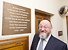 Kinderstransport plaque in Parliament, Westminster, London, Great Britain <br /> 27th January 2017 <br /> <br /> Chief Rabbi and Archbishop of Canterbury to mark Holocaust Memorial Day with Lord Dubs at rededication of Kindertransport plaque in Parliament<br />  <br /> 20 years ago the Committee of the Reunion of the Kindertransport donated a plaque to Parliament commemorating Britain&rsquo;s act of generosity to Jewish children in Nazi-occupied Europe. On Holocaust Memorial Day [27 January 2017], the plaque will be rededicated in the presence of newly arrived child refugees who were reunited with their families from Calais last year by Safe Passage, a project of Citizens UK. <br />  <br /> The ceremony will be particularly poignant as it will be attended by Lord Dubs, himself a Kindertransport survivor, who passed an amendment to the Immigration Act last year, with the Government's support, affording sanctuary in the UK to some of the most vulnerable lone child refugees in Europe.<br />  <br /> Chief Rabbi, Ephraim Mirvis, <br /> <br /> <br /> <br /> <br /> <br /> <br /> Photograph by Elliott Franks