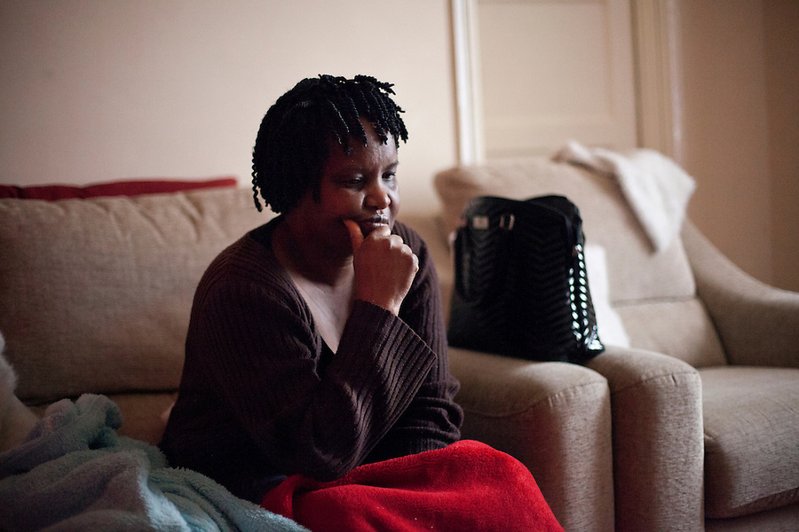 Nyembesi Chitsote takes a moment to herself after meeting with Patson Muzuwa about her Asylum Case. She fled to the UK in 2000, after she was threatened by ZANU-PF youths who came to here home and destroyed all of her belongings, demanding that she go to ZANU-PF organised village meetings. Hers is a legacy case, as she applied before 2004. She only applied because of 'word of mouth' that one needs to actually apply for asylum in order to remain in the UK. The Home Office lost her initial papers, passport and evidence. Upon her fresh application in 2009 she was rejected and has since been destitute, after an interview which sought to determine whether or not she was in fact a Zimbabwean and had indeed come from Marondera, a district near the capital of Harare. The attempted this by asking her questions such as, ?how many votes did MDC get in Marondera that year.? Loneliness, fear, uncertainty, and lack of purpose are said to be the number one causes of an epidemic of acute depression and suicides amongst Zimbabwean Women.