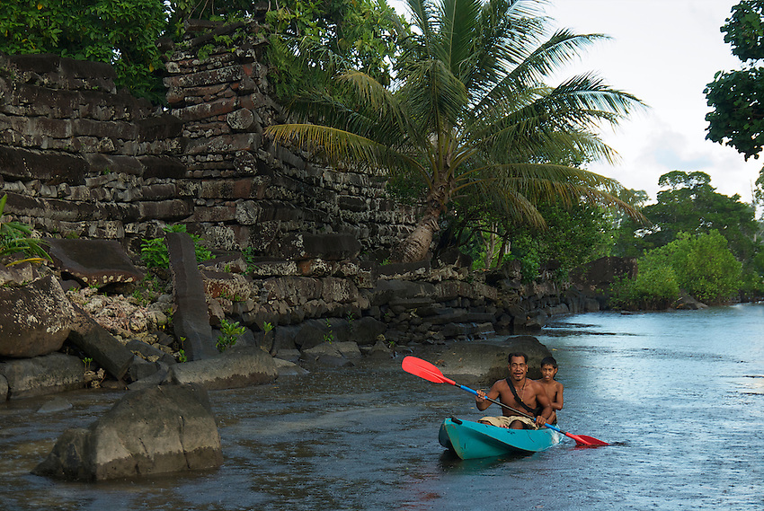 Ruins and the canals of Nan Madol the mysterious and ancient stone city at Pohnpei, also called the venice of the Pacific. A slight resemblance to Angkor Wat in style and buildings.