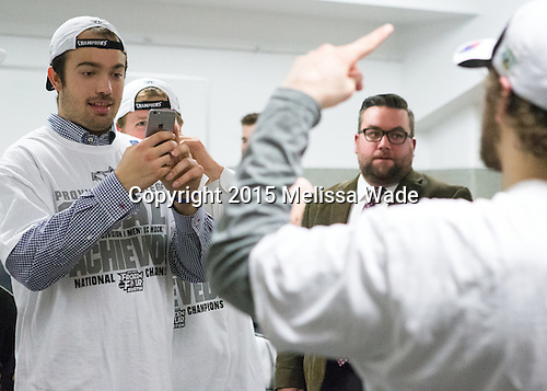 Truman Reed (PC - 23) - The Providence College Friars celebrated their national championship win after the Frozen Four final at TD Garden on Saturday, April 11, 2015, in Boston, Massachusetts.