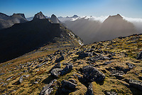 View from rocky slopes of Branntuva across mountains of Moskenesøy, Lofoten Islands, Norway