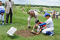 Shigeo Nagashima,JULY 23, 2011 - Golf :Tournament honorary chairman Shigeo Nagashima plants Aodamo trees with Chitose City's young baseball players during the third round of the Nagashima Shigeo Invitational Sega Sammy Cup Golf Tournament at The North Country Golf Club in Chitose, Hokkaido, Japan. (Photo by Hitoshi Mochizuki/AFLO)