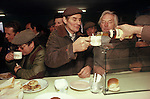 "Farmers enjoy a drink of tea and whisky at the Farmers ""Christmas Market"", Knighton, Shropshire Circa 1985"