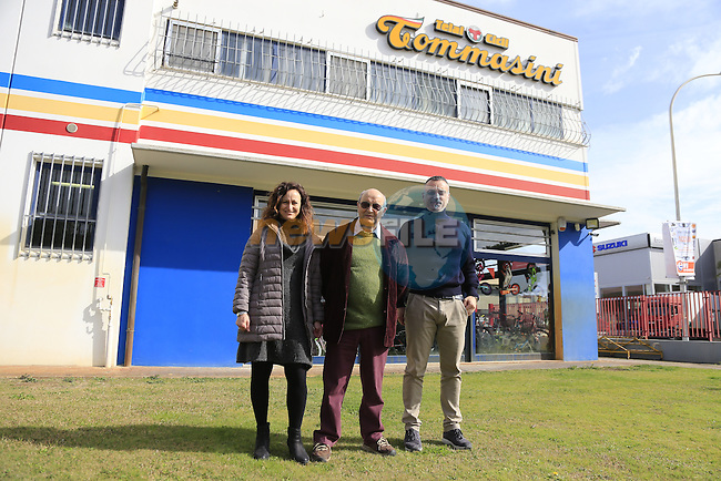 Founder Irio Tommassini centre with daughter Barbara and son in law Alessandro outside the Tommasini factory based in Grosseto, Tuscany, Italy 6th March 2017.<br /> Picture: Eoin Clarke | Newsfile<br /> <br /> <br /> All photos usage must carry mandatory copyright credit (&copy; Newsfile | Eoin Clarke)