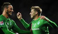 FUSSBALL   1. BUNDESLIGA   SAISON 2011/2012    14. SPIELTAG SV Werder Bremen - VfB Stuttgart       27.11.2011 Bremer Torjubel nach dem 1:0: Marko ARNAUTOVIC und Torschuetze Aaron HUNT (v.l., alle Bremen)