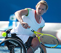 Esther Vergeer (NED) (1) against Daniela Di Toro (AUS) (2) in the final of the Women's wheelchair singles . Esther Vergeer beat Daniela Di Toro 6-0 6-0 ..International Tennis - Australian Open  -  Melbourne Park - Melbourne - Day 13 - Sat 29th January 2011..© Frey - AMN Images, Level 1, Barry House, 20-22 Worple Road, London, SW19 4DH.Tel - +44 208 947 0100.Email - Mfrey@advantagemedianet.com.Web - www.amnimages.photshelter.com