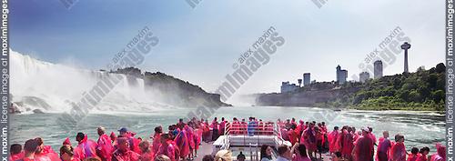 People on a boat ride at Niagara Falls. Panoramic scenery. Hornblower Niagara Cruises, Ontario, Canada 2014.