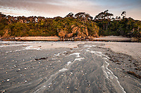 Sunset on beach at Ship Creek near Haast, West Coast, South Westland, UNESCO World Heritage Area, New Zealand, NZ