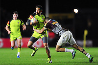 Peter Betham of Leicester Tigers is tackled by Aaron Morris of Harlequins. Aviva Premiership match, between Harlequins and Leicester Tigers on February 24, 2017 at the Twickenham Stoop in London, England. Photo by: Patrick Khachfe / JMP