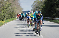 peloton cruising through the Ardennes with Team Movistar setting the pace (for race favourite Alejandro Valverde (ESP/Movistar team)<br /> <br /> 103rd Li&egrave;ge-Bastogne-Li&egrave;ge 2017 (1.UWT)<br /> One Day Race: Li&egrave;ge &rsaquo; Ans (258km)