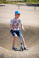 Teenager on a Scooter, The Rom Skatepark, Hornchurch, Essex, Britain - Jul 2014.