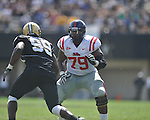 Ole Miss' Bobby Massie (79) blocks in Nashville, Tenn. on Saturday, September 17, 2011. Vanderbilt won 30-7..
