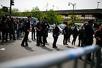 NEW YORK, NY - May 04:  NYPD officers wait instructions as activists arrive to protest near the Intrepid Sea, Air and Space Museum before President Donald Trump arrive to city on May 04, 2017. in New York. U.S. president Trump will meet Australian Prime Minister Malcolm Turnbull on the 75th anniversary of the Battle of the Coral Sea by US and Australian forces against the Japanese In New York City. Photo by VIEWpress/Eduardo MunozAlvarez