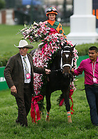 May 4, 2012. Believe You Can and Rosie Napravnik with Trainer Larry Jones after winning the Kentucky Oaks at Churchill Downs in Louisville, KY