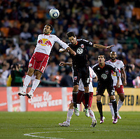 Branko Boskovic (8) of D.C. United goes up for a header with Dwayne De Rosario (11) of the New York Red Bulls during the game at RFK Stadium in Washington, DC.  D.C. United lost to the New York Red Bulls, 4-0.