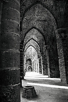 Inside the Abbey of Villers-la-Ville in Black and White
