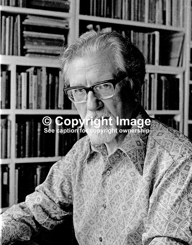 John Hewitt, poet, born 28 October 1907, died 22 June 1987, Belfast, N Ireland, UK, pictured in his home at Stockman's Lane, Belfast. 197306403b.<br /> <br /> Copyright Image from Victor Patterson, 54 Dorchester Park, Belfast, UK, BT9 6RJ<br /> <br /> t1: +44 28 9066 1296 (from Rep of Ireland 048 9066 1296)<br /> t2: +44 28 9002 2446 (from Rep of Ireland 048 9002 2446)<br /> m: +44 7802 353836<br /> <br /> e1: victorpatterson@me.com<br /> e2: victorpatterson@gmail.com<br /> <br /> The use of my copyright images is subject to my Terms &amp; Conditions.<br /> <br /> It is IMPORTANT that you familiarise yourself with them. They are available on my website at www.victorpatterson.com.<br /> <br /> None of my copyright images may be used on a website unless they are visibly watermarked, i.e. &copy; Victor Patterson within the body of the visible image. Metadata denoting my copyright must NOT be deleted. <br /> <br /> Web use (maximum size - 400 kb) is extra at currently recommended NUJ rates.