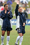 Shannon Boxx (l) and Lori Chalupny (6), of the United States, on Sunday June 26th, 2005, during an international friendly soccer match at Virginia Beach Sportsplex in Virginia Beach, Virginia. The United States won the game 2-0.