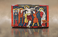 Romanesque painted Beam depicting The Passion and the Stations of the Cross<br /> <br /> Around 1192-1220, Tempera on wood from Catalonia, Spain.<br /> <br /> Acquisition of Museums Board's campaign in 1907. MNAC 15833.<br /> <br /> It is not known what was the original location of the beam, but it might have been part of the structure of a canopy. In any case, it was reused in a ceiling, as evidenced by the cuts that are at the top. It is decorated with seven scenes from the Passion and Resurrection of Christ, this scene shows Christ being removed from the Cross. The narrative character in the images and the predominance of yellow is typical of Catalan painting of the 1200&rsquo;s,  specifically with illustrations of Liber Feudorum Maior, a late twelfth-century illuminated cartulary book style of the Crown of Aragon
