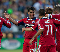 Santa Clara, California - Saturday July 28, 2012: Chicago Fire's Pavel Pardo celebrate with teammates after Chris Rolfe's goal during a game against San Jose Earthquakes at Buck Shaw Stadium, Stanford, Ca    San Jose Earthquakes and Chicago Fire tied 0 - 0