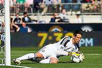 Seattle Sounders goalkeeper Michael Gspurning (1). The Philadelphia Union and the Seattle Sounders played to a 2-2 tie during a Major League Soccer (MLS) match at PPL Park in Chester, PA, on May 4, 2013.