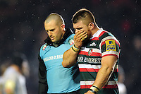 Michele Rizzo of Leicester Tigers leaves the field injured. Aviva Premiership match, between Leicester Tigers and Exeter Chiefs on March 3, 2017 at Welford Road in Leicester, England. Photo by: Patrick Khachfe / JMP