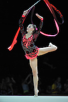 September 21, 2011; Montpellier, France;  MELITINA STANIOUTA of Belarus performs split leap with ball at 2011 World Championships.