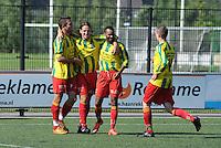 VOETBAL: Leeuwarden: Sportpark Wiarda, 09-09-2012, Zondag 1e klasse F, FVC - LAC Frisia, Eindstand 4-0, vreugde bij FVC-spelers, Ruurd Algra, René Hoen, Claudio Tavares, (#14), ©foto Martin de Jong