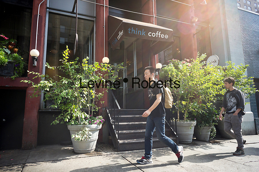 """A branch of Think Coffee in Greenwich Village in new York is seen on Saturday, September 22, 2012. After being featured in a South Korean television program, """"Infinite Challenge"""", this particular branch of the chain has become a pilgrimage stop for South Korean tourists. . (© Richard B. Levine)"""