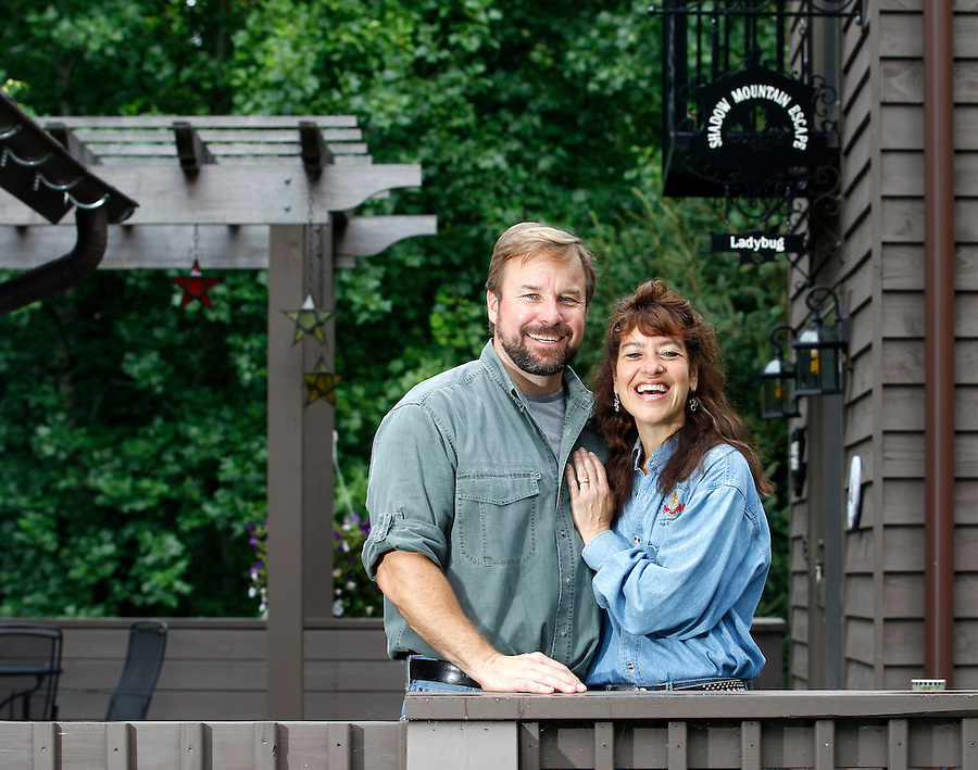 Karen and Ralph Riddle of Shadow Mountain Escape cabin rentals in Luray, Virginia. Photo/Andrew Shurtleff