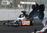 Feb 7, 2015; Pomona, CA, USA; NHRA top fuel driver Clay Millican during qualifying for the Winternationals at Auto Club Raceway at Pomona. Mandatory Credit: Mark J. Rebilas-