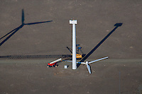 aerial photograph wind turbine maintenance wind farm southeastern Wyoming