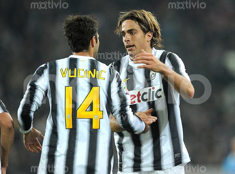 FUSSBALL INTERNATIONAL   SERIE A   SAISON 2011/2012    Juventus Turin - Genua  22.10.2011 Mirko Vucinic , Alessandro Matri (v. li., Juventus Turin)