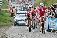 Alexander Kristoff (NOR/Katusha-Alpecin) &amp; John Degenkolb (DEU/Trek-Segafredo) up the Paterberg<br /> <br /> 101th Ronde Van Vlaanderen 2017 (1.UWT)<br /> 1day race: Antwerp &rsaquo; Oudenaarde - BEL (260km)