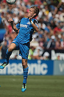 San Jose Earthquakes midfielder Brad Ring (5) heads the ball. The San Jose Earthquakes tied the Los Angeles Galaxy 0-0 at Buck Shaw Stadium in Santa Clara, California on June 25th, 2011.